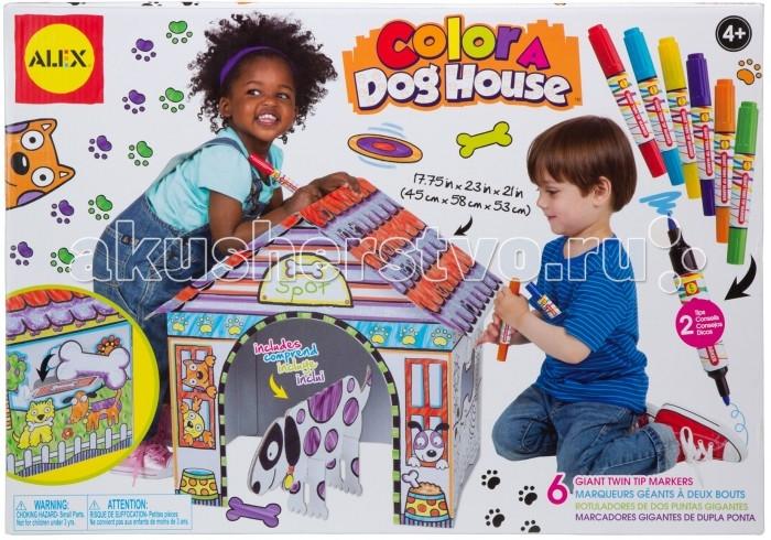 Alex Набор Раскрась домик для собакиНабор Раскрась домик для собакиНабор Раскрась домик для собачки - это прекрасный набор для творческого развития вашего ребенка.   Превосходный набор позволит вашему малышу почувствовать себя настоящим творцом домика для любимого домашнего животного. А, если настоящего питомца у крохи нет, то поможет создать собачку из картона.   В набор входят детали для сборки домика из беленого гофрокартона. Домик легко собирается без ножниц и клея. Конструкция домика устойчивая, детали соединяются между собой крепко, что не позволяет ему разваливаться. Домик оформлен контурами рисунков, как в раскраске, которые малышу предстоит декорировать по собственному усмотрению.   Стирающиеся маркеры для раскрашивания, входящие в комплект, имеют две стороны, с одной - грифель толстый, с другой - тонкий. Набор поможет малышу развить фантазию и образное мышление, мелкую моторику.  В наборе:  картонные заготовки домика для собаки, собака картонная, косточка картонная, двусторонние стирающиеся маркеры 6 шт., инструкция по сборке. Размер домика в собранном виде: 45х58х53 см.<br>
