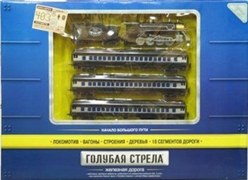 Голубая стрела Железная дорога с паровозом и тендером 403 см 87126