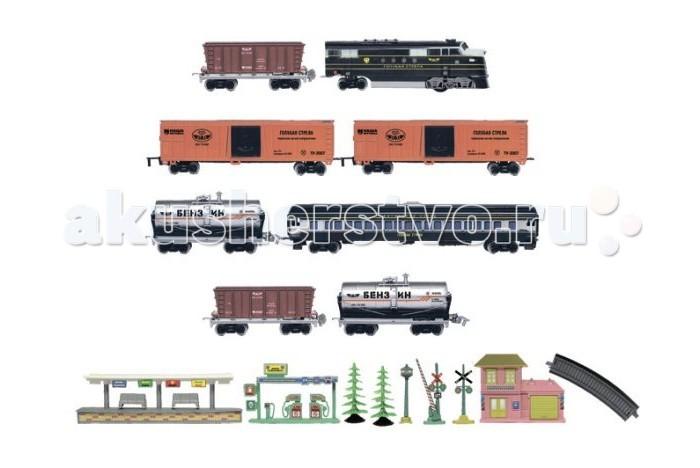 Голубая стрела Железная дорога Тепловоз с вагончиками 449 см 87127
