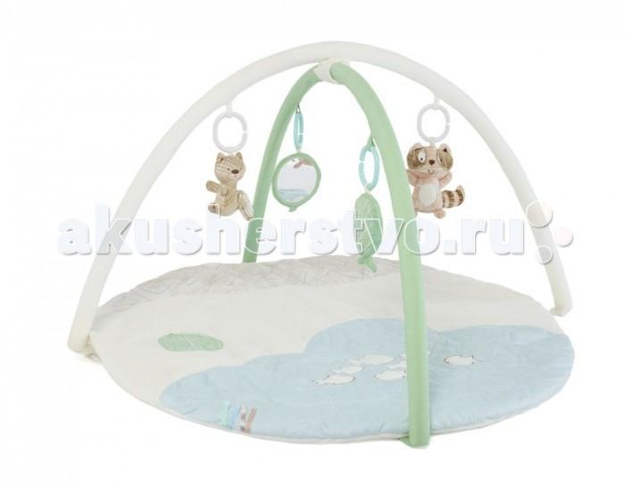 Развивающий коврик Tutti Bambini Outdoor AdventuresOutdoor AdventuresУютный детский коврик Tutti Bambini непременно станет любимым местом для игр Вашего малыша. Мягкие бортики и подкладка коврика обеспечат комфорт и удобство, на двух съёмных дугах – подвесные велюровые игрушки, которые помогут ребёнку проводить время на коврике увлекательно и полезно. Игрушки отличаются по цвету, размеру, форме и наполнителю, благодаря чему малыш сможет тренировать мелкую моторику и зрительные рефлексы, различать тактильные ощущения.   Основные характеристики:  развивающий игровой коврик;  мягкий и комфортный для малыша;  соответствует всем британским стандартам безопасности в производстве детских товаров;  подходит для малышей с рождения;  две съёмные дуги с мягкими подвесными игрушками;  диаметр коврика – 90 см;  высота дуг – 45 см.   Развивающие функции коврика:  стимулирует зрительные рефлексы;  развивает мелку моторику;  укрепляет ключевые мышцы рук, шеи и спины ребёнка;  помогает в формировании правильной осанки;  стимулирует развитие воображения у малыша.<br>