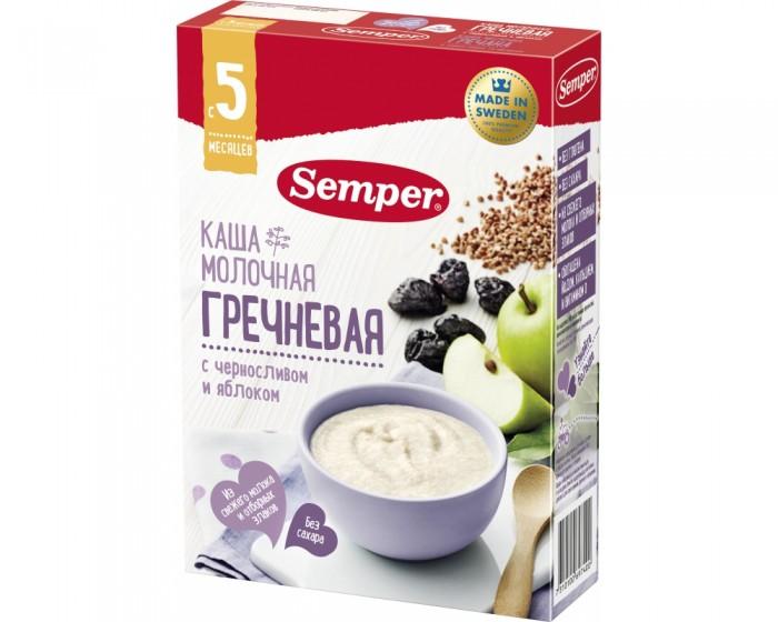 Каши Semper Молочная гречневая каша с черносливом и яблоком с 5 мес. 200 г каши semper молочная рисовая каша с бананом с 6 мес 200 г