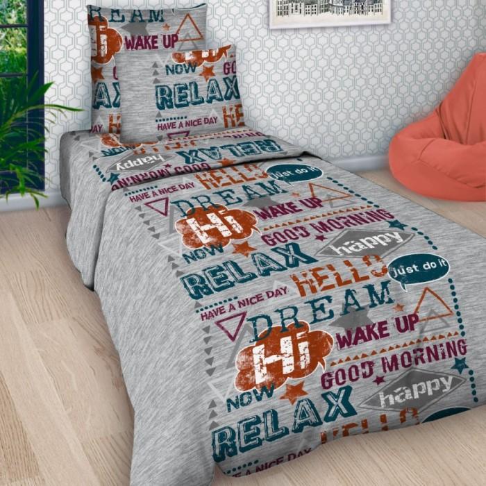 Постельное белье 1.5-спальное Letto Шрифт (3 предмета), Постельное белье 1.5-спальное - артикул:228868