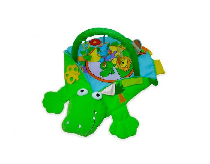Развивающий коврик Biba Toys КрокодилКрокодилРазвивающий коврик Biba Toys Крокодил - интересное и очень полезное развлечение для вашего малыша.  Особенности: Яркий мягкий коврик в разных местах пищит, шуршит, издает другие звуки и имеет разную фактуру, что благотворно влияет на сенсорное восприятие крохи. Огромный мягкий крокодил станет чудесным плацдармом для малыша. Дуги выполнены из плотного поролона - мягкие и упругие наощупь, крепление с ковриком на петлях и пластиковых защелках.  На дугах нашиты маленькие петельки, к которым с помощью пластиковых колец подвешены игрушки - съемные с возможной заменой. Игрушки привлекут внимание малыша и станут дополнительным поводом поскорее научиться садиться.  Ребенок с удовольствием будет толкать и дергать их. Игрушки можно снять и просто дать ребенку поиграть. Они пищат, шуршат и гремят, вызывая у ребенка дополнительный интерес. Новорожденных рекомендуется выкладывать на этот коврик на животик. Игра помогает развить концентрацию внимания, зрение, мелкую моторику, крупную моторику, тактильные ощущения, слух, двигательную активность.  Размер: 46х14х55 см<br>