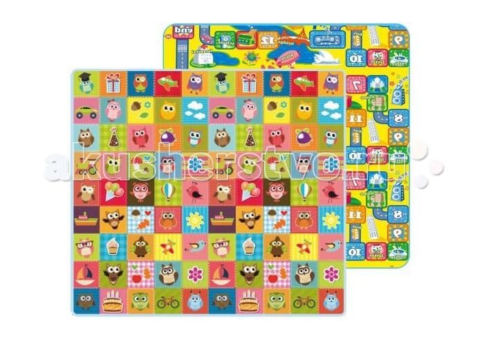 Игровой коврик Mambobaby Совята и Город двусторонний 200х180х1 см
