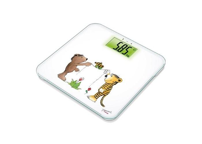 Детские весы Beurer JGS22Детские весы<br>Детские весы Beurer JGS22 электронные, выполненные в современном стильном дизайне с детским рисунком на платформе. Они обладают автоматическим включением и выключением. Весы могут измерять до 150 кг и имеют возможность взвешивания ребенка на руках.  Особенности: Платформа из высокопрочного стекла Функция тары Возможность взвешивания ребенка на руках Память последнего результата Минимальный вес: 5 кг Максимальный вес: 150 кг Градуировка шкалы: 50 г Технология включения Quickstart Автоматическое отключение Большой дисплей с подсветкой Высота цифр: 45 мм Не скользящие ножки Веселые наклейки от Яноша в комплекте Батарейки в комплекте  Производитель:Beurer GmbH , Германия