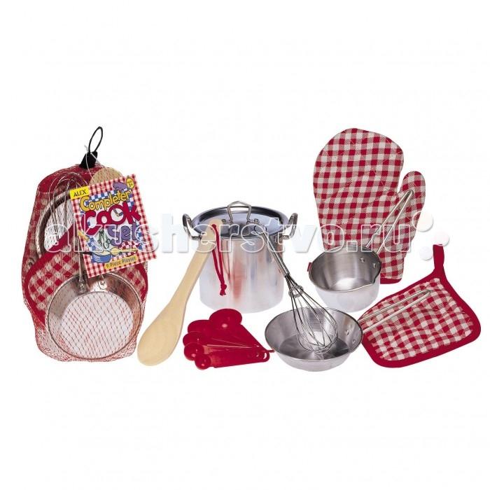 Alex Набор кухонной посуды из нержавеющей стали Все для повараНабор кухонной посуды из нержавеющей стали Все для повараНабор посуды с прихватками для детей от 3-х лет. В наборе:  2 прихватки 5 мерных ложек из пластмассы ложка деревянная металлическая посуда: кастрюля, сковородка, ковш, венчик.<br>