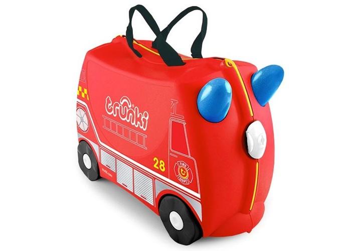 Trunki Детская каталка-чемодан Frank Пожарная машинаДетская каталка-чемодан Frank Пожарная машинаTrunki Frank – оригинальный красный детский чемодан созданный для озорных детей чтобы избавить их от скуки и усталости. Предназначен для использования в качестве ручной клади, дети могут сложить в Trunki свои любимые игрушками, самостоятельно ехать на нем, или просто сидеть и наслаждаться катанием, в то время как родители будут везти их на буксире.  Особенности чемодана:  Перевозка и хранения игрушек и багажа; Веселое катание на чемоданчике; Отдых ребенка, когда родители просто катают его; Многофункциональный ручной буксировочный ремень; Ремни безопасности для плюшевого мишки; Две ручки для переноски; Секретные отсеки; Фиксаторы.  Особенности:  Объем: 18 л Выдерживает до 45 кг веса Размеры чемодана: 46 х 20,5 х 31 см Вес: 1,7 кг<br>