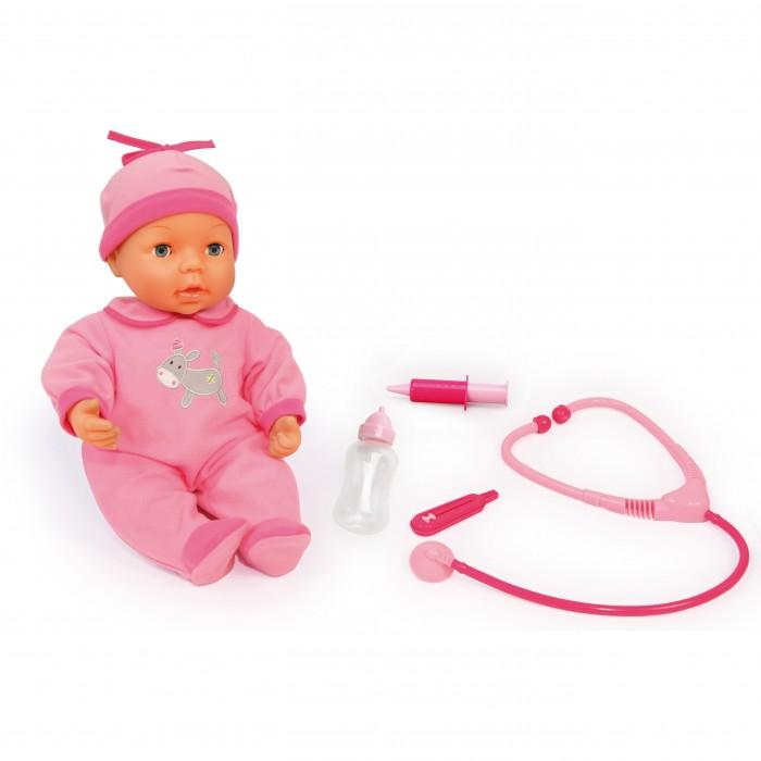 Bayer Кукла-пупс Малыш у доктора 38 смКукла-пупс Малыш у доктора 38 смBayer Кукла-пупс Малыш у доктора 38 см  Всем маленьким девочкам очень понравится набор Малыш у Доктора.   Сенсор на лице куклы, при движении плачет.   Интерактивная кукла 38 см, 25 функций, глаза открываются-закрываются.   Когда у куклы жар, ее щечки краснеют, и вы можете сделать кукле укол.   Приложив стетоскоп, вы можете услышать биение ее сердечка.   Когда вы даете ей бутылочку, кукла двигает ртом и издает издает звуки. После идет отрыжка.   Кукла одета в мягкий розовый комбинезон с подходящей по цвету шапочкой.   Упаковка: подарочная коробка.   Батарейки входят в комплект.<br>
