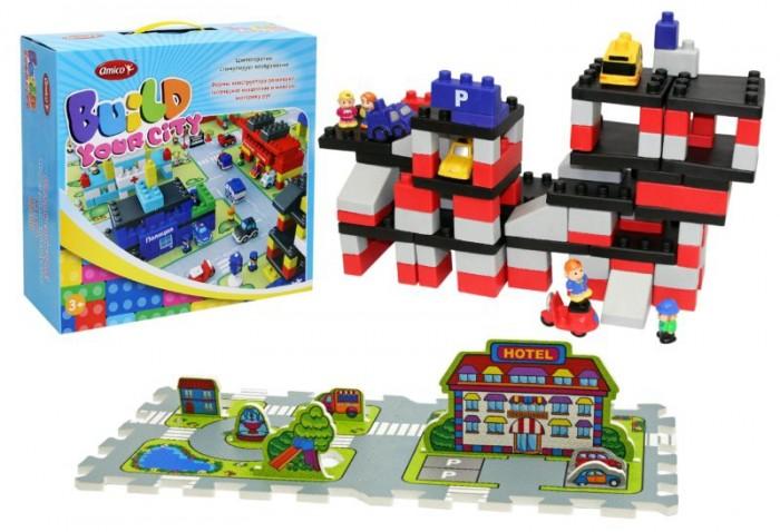 Конструктор Ami&amp;Co (AmiCo) Парковка (93 детали)Парковка (93 детали)Конструктор Парковка (93 детали) .  Конструктор – это одна из самых увлекательных игрушек для детей.   Из множества красочных, разных по форме деталей можно собрать все что угодно.   Достаточно  только проявить воображение, фантазию и творческое мышление. Мягкий конструктор ТМ «Amico»  отличается яркой цветовой палитрой,  а так же сооружаемыми постройками.    Конструктор выполнен из ПвХ, не токсичен, все детали эргономичны, что делает его безопасным даже для самых маленьких. Так маленькие строители смогут построить Аэропорты, Полицейский участок, даже Цирк, который обязательно пригласят всех желающих.  Все конструкторы серии совместимы между собой.<br>