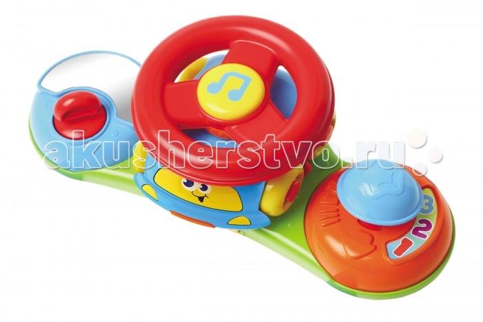 Музыкальная игрушка B kids Маленький водитель 2 в 1Маленький водитель 2 в 1B kids Игрушка музыкальная 2 в 1 Маленький водитель 003969B  Музыкальная игрушка 2 в 1 «Маленький водитель» - это одновременно игровая панель на коляску и симпатичная машинка со съемным рулем на крыше.   Довольно компактные размеры игровой панели никак не влияют на ее функционал: здесь есть и руль, и ключ зажигания, и переключатель скоростей, и безопасное зеркало, и трещотка. Если вы нажмете на кнопку в центре руля, зазвучит веселая музыка.   Вы можете отделить машинку с рулем на крыше, и катать автомобиль отдельно. Кроме того, руль можно снять с крыши авто.   С помощью пластиковых ремней панель можно закрепить как на коляске, так и на автокресле.   Внимание: для работы игрушки вам потребуется 2 батарейки типа LR44. Они входят в комплект.   Размеры панели: 25х11х9 см.  Размеры руля: 11х10х7 см.   Игрушка предназначена для детей старше 6 месяцев.<br>