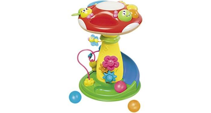 Игровой центр B kids ГрибокГрибокB kids Игрушка для детей Грибок 003980B  Необычная игрушка для детей «Грибок» от Bkids - это интерактивный развивающий центр, рассчитанный на детей нескольких возрастов.   Помимо самого гриба в коробке вы найдете три шарика (один из которых – светящийся): бросайте их в отверстие на шляпке мухомора – шары будут скатываться вниз, а из гриба донесется приятная мелодия.   В развивающий центр встроена популярная логическая игрушка лабиринт: здесь он небольшой, но приятной расцветки, с двумя мотыльками, которых можно передвигать от цветка к цветку по изогнутому пути.   У основания гриба есть еще один подвижный персонаж – улитка. Она перемещается влево и вправо по короткой дорожке. На ножке гриба установлены шестеренки в виде цветов: их можно крутить. А шляпку венчает пианино в виде большой гусеницы, каждый сегмент которой воспроизводит свой звук. Кстати, шляпка отделяется, и с пианино можно играть лежа.   Внимание: для работы игрушки необходимы 2 батарейки АА и еще 2 батарейки LR44.  Диаметр шляпки гриба: 30 см. Высота гриба: 40 см.   Игрушка предназначена для детей старше 9 месяцев.<br>