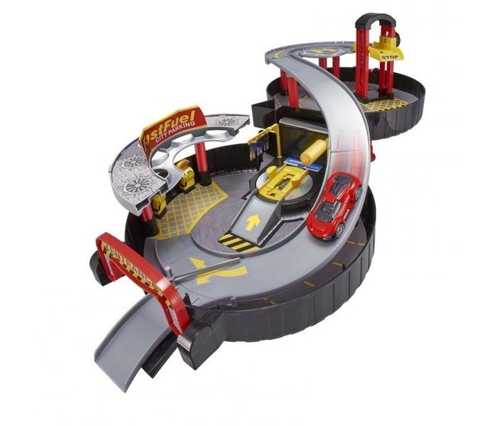 HTI Двухуровневый гараж Teamsterz в чемоданчикеДвухуровневый гараж Teamsterz в чемоданчикеДвухуровневый гараж HTI - занимательный набор для мальчика, в котором есть все для увлекательной игры - автомобиль, шлагбаум, трасса для спуска, подъемник, парковочные места, заправочная станция, автомойка и даже площадка для посадки вертолета.   Набор очень удобен, в собранном виде выглядит как компактный чемоданчик, изготовленный в форме колеса.  Особенности: - двухуровневый - трасса собирается из отдельных деталей - множество игровых, в том числе подвижных, элементов - машинка в комплекте функциональна<br>