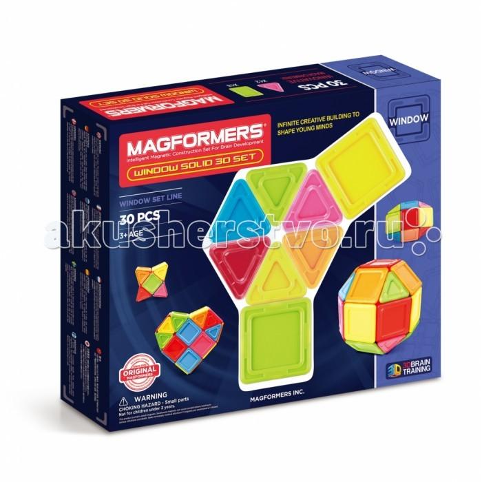 Конструктор Magformers Магнитный Window Solid 30 элементовМагнитный Window Solid 30 элементовMagformers Магнитный конструктор Window Solid 30 элементов 714006  Детали из непрозрачного пластика ярких, жизнерадостных цветов добавят постройкам объем и основательность. В комплект входит 30 деталей — 18 квадратов и 12 треугольников. Это классическое сочетание Магформерс, которое Вы найдете во многих наших любимых наборах, например, в Magformers 30; оно позволяет собрать удивительное множество моделей.  Чтобы дать стартовый толчок творческой фантазии, обратите внимание на Книгу идей. В ней описываются основные принципы игры с Магформерс и даны подробные схемы построек. Вы будете удивлены, как много самых разнообразных моделей можно собрать из совсем небольшого количества деталей. Игра с Магформерс - веселый и увлекательный способ развить творческие способности и пространственное мышление. Все наборы Магформерс отличаются высочайшим качеством и отвечают самым строгим мировым стандартам безопасности.<br>