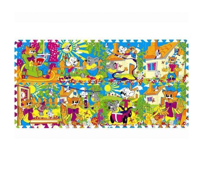 Игровые коврики Играем вместе Дисней Коврик-пазл Кот Леопольд 8 сегментов цена