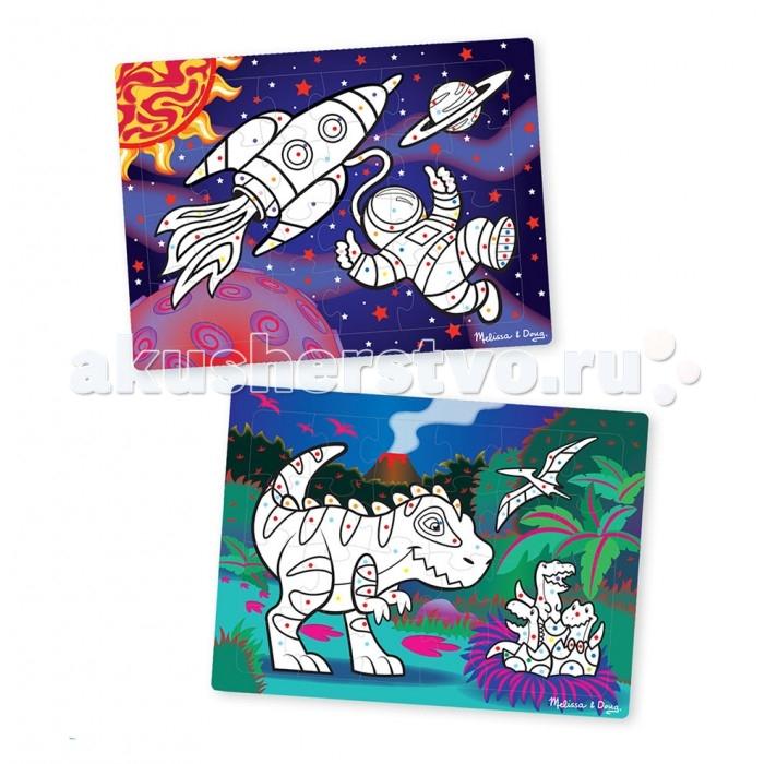 Раскраски Melissa & Doug по цветам Космос/динозавры 3D раскраски melissa
