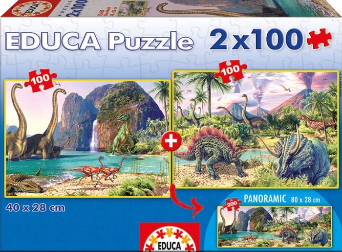 Купить Пазлы, Educa Пазл 2 в 1 Мир динозавров 2 х 100 деталей