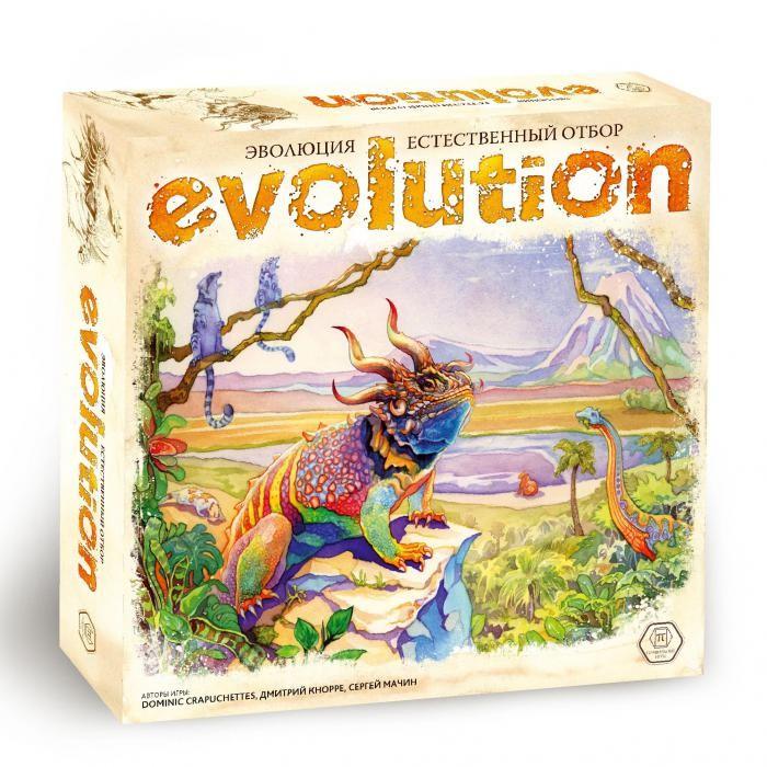 Правильные игры Настольная игра Эволюция Естественный отборНастольная игра Эволюция Естественный отборПравильные игры Настольная игра Эволюция Естественный отбор 13-03-01  Более миллиона видов живых существ населяют все уголки нашей планеты. Эволюционная теория Чарльза Дарвина объясняет причины их потрясающего биологического многообразия.  Благодаря естественному отбору особи, которые лучше приспособлены к среде обитания, выживают и передают свои полезные свойства потомкам. Сейчас, спустя тысячи и даже миллионы лет, мы можем только диву даваться, как подобное могло сложиться естественным путем!  В «Эволюции» вы сами становитесь частью механизма природы и можете воочию увидеть, как ваши животные эволюционируют, приспосабливаются и размножаются, или же вымирают, проигрывая в конкуренции с более успешными и эффективными видами.  Состав игры: - 24 планшета видов животных - 24 коричневых маркера размера тела - 24 зеленых маркера размера популяции - 129 карт свойств животных - 1 поле Водопой - 180 фишек еды - 6 памяток игроков - 6 мешочков для еды - знак Первого игрока - правила игры.<br>