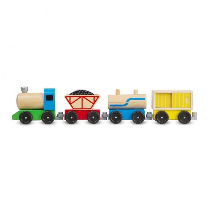 Melissa &amp; Doug Товарный поездТоварный поездДеревянная игрушка Melissa & Doug Товарный поезд  Деревянный поезд включает в себя три прицепных вагона<br>