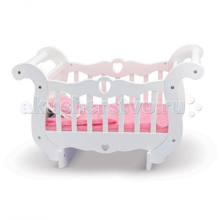 Кроватка для куклы Melissa &amp; Doug Деревянная колыбельДеревянная колыбельДеревянная колыбель Melissa & Doug для куклы отлично впишется в интерьер любой детской комнаты.   Особенности:   Корпус колыбели декорирован изогнутыми деталями и отверстиями в виде сердечек.  Изделие подходит для игр с куклами, размер которых не превышает 50 см    Кроватка изготовлена из высококачественной шлифованной древесины и покрыта нетоксичной белой краской, а принадлежности для сна – из прочного текстильного материала.   В наборе:    Колыбель  Одеяло  Подушка<br>