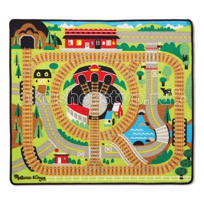 Игровой коврик Melissa & Doug Железная дорогаИгровые коврики<br>Коврик Melissa  Doug Железная дорога  В комплекте ковер и 3 деревянных вагончика.