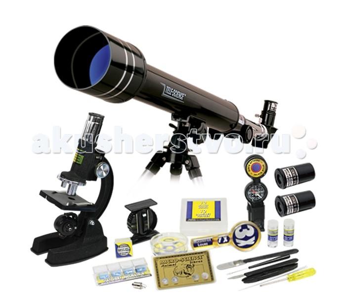 Eastcolight Набор для исследований Телескоп и микроскопНабор для исследований Телескоп и микроскопEastcolight Набор для исследований Телескоп и микроскоп  Данный набор состоит из телескопа и микроскопа, с помощью которых мальчики и девочки смогут исследовать окружающий мир. Также в комплект входит увеличивающая лупа, которая позволит ребенку в мельчайших деталях рассмотреть небольшую игрушку, часть какого-нибудь предмета или другу вещь. К микроскопу и телескопу прилагаются шесть слайдов, пять из которых чисты. Юный ученый-исследователь сможет самостоятельно заполнить слайды выбранными наклейками. В наборе ребенок обнаружит и другие предметы, с которыми он сможет представить себя настоящим химиком или астрономом. Например, с помощью пипетки, стеклышек и баночек с реактивами можно обустроить личную лабораторию для опытов. С данным набором могут играть несколько детей. Для того чтобы мальчики и девочки смогли полнее погрузиться в мир науки, можно дополнить исследовательский комплект белым халатом и другими игрушками и материалами  Возраст: от 8 лет Наличие батареек: не входят в комплект. Тип батареек: 2 х AA / LR6 1.5V (пальчиковые). Упаковка: кейс. Комплект: микроскоп, телескоп, лупа с 3х-кратным увеличением, 5 чистых слайдов, 1 приготовленный слайд, 12 чистых этикеток, 12 предметных стёклышек, пластмассовая пипетка, 2 пузырька с химическими реактивами. Длина телескопа: 50 см. Увеличение телескопа: 100х-1000х. Размер микроскопа: 20 х 13.5 х 8.5 см. Увеличение микроскопа: 30х, 40х, 60х.<br>