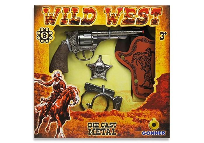 Игрушечное оружие Gonher Игрушечное оружие Ковбойский набор с револьвером на 8 пистонов игрушечное оружие gonher игрушка розовый пистолет 180 2f