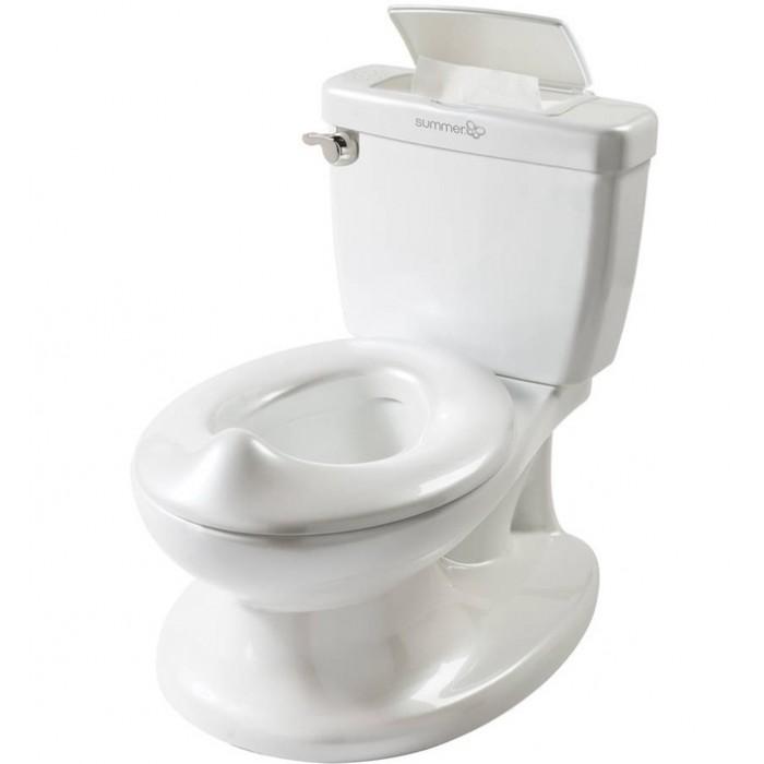Горшок Summer Infant My Size PottyMy Size PottyMy Size Potty Summer Infant  Горшок выглядит как унитаз, помогая малышам почувствовать себя взрослыми, а переход от детского горшка к обычному туалету сделает простым и комфортным!  C многофункциональным горшком My Size Potty, похожим на обычный унитаз,  Вы легко приучите малыша к туалету!  Детский горшок My Size Potty  идеально подходит малышам от 1,5 лет.   Интерактивная ручка оснащена звуком смыва, награждая малышей за хорошо сделанную работу. Также у горшка имеется поднимающееся сидение, встроен специальный отсек для салфеток,  а также есть специальная прикрепляемая перегородка для мальчиков. Горшок My Size Potty имеет легко вынимающуюся емкость, которую Вы сможете без труда очистить после того, как малыш сходил в туалет. Реалистичный дизайн (точная копия взрослого унитаза). Интерактивная ручка воспроизводит звук смывания Оснащен боксом для салфеток. Съемная емкость для легкого очищения. Специальная конструкция защищает от разбрызгивания. Для детей от 18 месяцев до 5 лет. Материал: высокопрочный пластик (полипропилен). В комплекте 2 батарейки типа АА.<br>