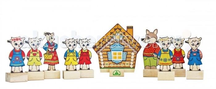 Деревянная игрушка Краснокамская игрушка Набор Персонажи сказки Волк и семеро козлят