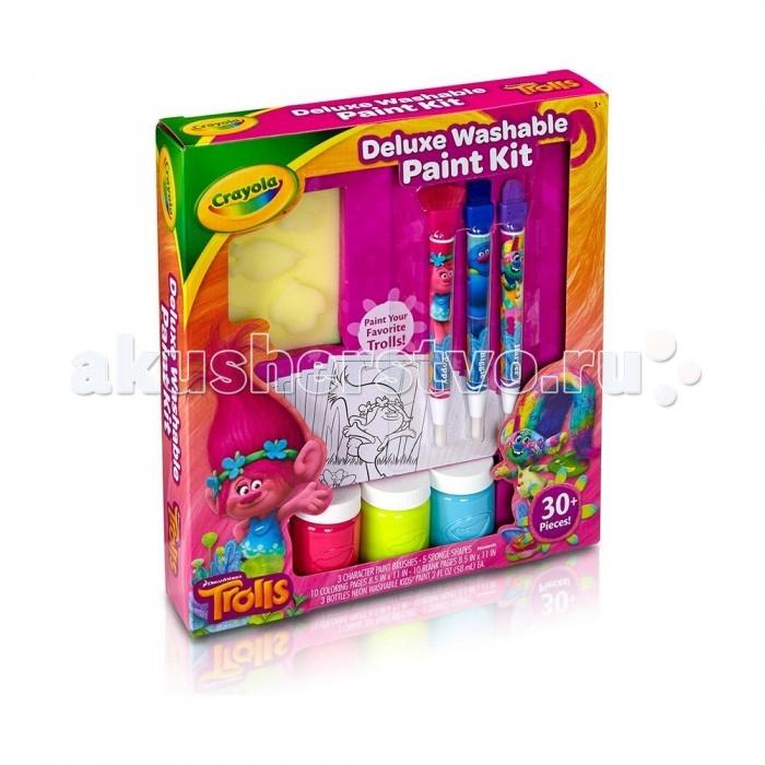 Творчество и хобби , Раскраски Crayola Набор с красками Тролли Делюкс арт: 237130 -  Раскраски