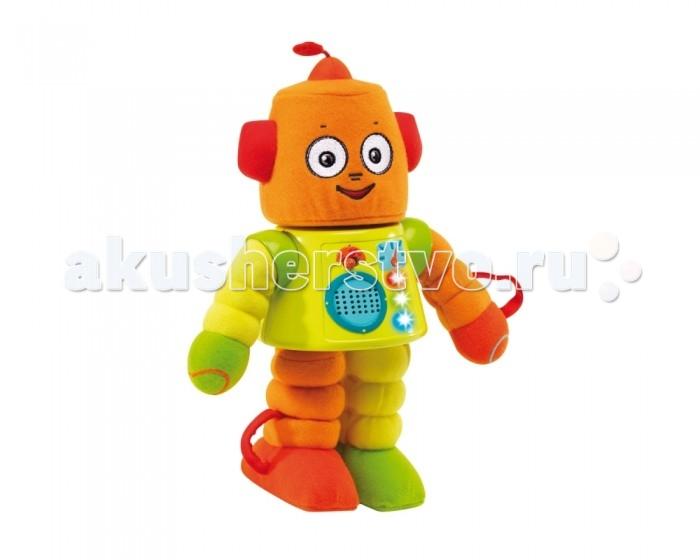 Интерактивная игрушка Learning Journey РоботРоботLearning Journey Робот  Забавный, смешной робот с мягкими отделяемыми частями тела, возвращающимися в исходное положение.   Особенности: К пластиковому телу робота с помощью прочных резинок прикреплены мягкие ножки, ручки и голова.  Все части тела можно потянуть к себе, для удобства дергания есть петельки.  При включении робота малыш услышит веселую песенку робота.  Когда малыш тянет на себя руку ногу или голову то слышит множество различных фраз (Больно, Щекотно и др.), мелодии и звуковые эффекты.  Если потянуть левую ногу на себя и потом отпустить-она вибрируя вернется обратно.  Все звуковые эффекты сопровождаются игрой огоньков на туловище робота.  Если робота перевернуть вверх ногами, то малыш услышит мелодию и забавные звуки.  Скорость воспроизведения звуков ускорится, если робота потрясти.  Игрушка развивает мелкую моторику, ловкость, координацию движений, фантазию ребенка также позволяет изучить части тела, а увидев как роботу может быть больно, когда его тянут за части тела, малыш сможет научиться бережному отношению к своим игрушкам. В игрушке предусмотрена функция автоматического выключения, что позволяет экономить заряд батареек.  В правой руке робота предусмотрена регулировка громкости: громко/тихо.   Игрушка работает от 3-х батареек пита АА (входят в комплект).<br>
