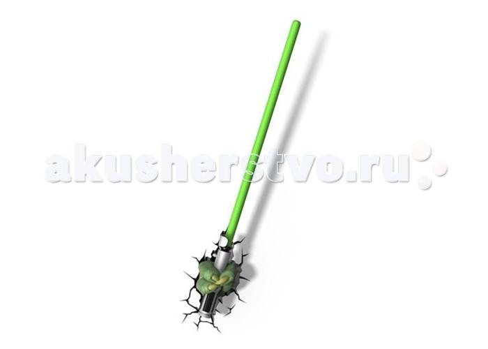 Светильник 3DlightFX Пробивной 3D StarWars (Звёздные Войны) Меч ЙодыПробивной 3D StarWars (Звёздные Войны) Меч ЙодыПробивной 3D светильник StarWars (Звёздные Войны) Меч Йоды. Безопасный: без проводов, работает от батареек (3хАА, не входят в комплект); Не нагревается: всегда можно дотронуться до изделия; Реалистичный:3D наклейка-имитация трещины в комплекте; Фантастический: выглядит превосходно в любое время суток; Удобный: простая установка (автоматическое выключение через полчаса непрерывной работы). Товар предназначен для детей старше 3 лет. ВНИМАНИЕ! Содержит мелкие детали, использовать под непосредственным наблюдением взрослых.   Особенности:   Размеры: 55.1 х 10.8 х 12 см Вес: 0,49 кг<br>