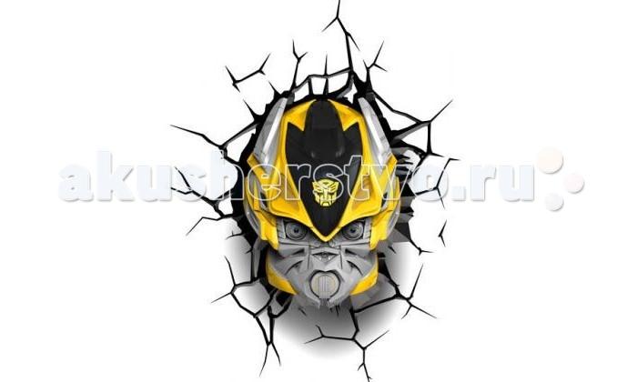 Светильник 3DlightFX Пробивной 3D TRNSFMR Bumble Bee (Бамблби)Пробивной 3D TRNSFMR Bumble Bee (Бамблби)Пробивной 3D светильник TRNSFMR Bumble Bee (Бамблби). Безопасный: без проводов, работает от батареек (3хАА, не входят в комплект); Не нагревается: всегда можно дотронуться до изделия; Реалистичный:3D наклейка-имитация трещины в комплекте; Фантастический: выглядит превосходно в любое время суток; Удобный: простая установка (автоматическое выключение через полчаса непрерывной работы). Товар предназначен для детей старше 3 лет. ВНИМАНИЕ! Содержит мелкие детали, использовать под непосредственным наблюдением взрослых.   Особенности:   Размеры: 22.5 х 30.5 х 15.5 см Вес: 0,89 кг<br>