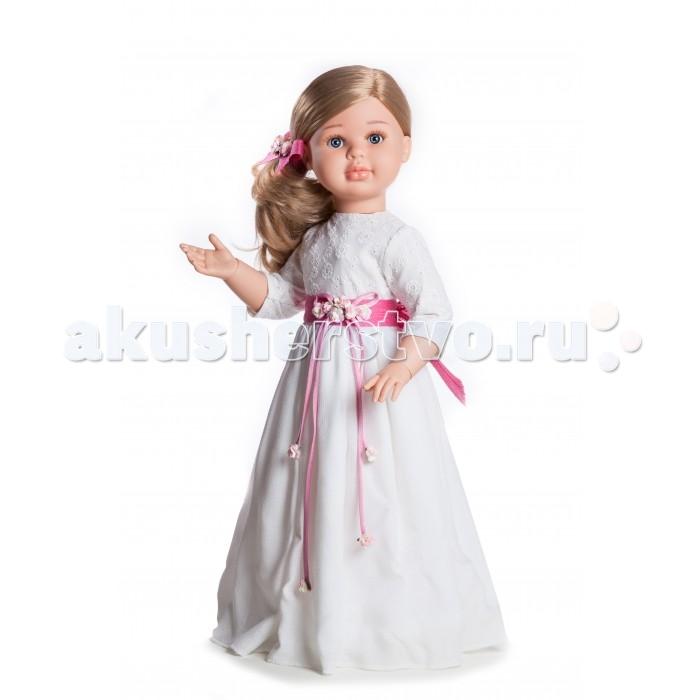 Paola Reina Кукла Альма 60 смКукла Альма 60 смКукла Paola Reina Альма - одна из коллекций виниловых кукол Паола Рейна.    Особенности:   Уникальный и неповторимый дизайн лица и тела. Ручная работа: ресницы, веснушки, щечки, губы, прическа.  Волосы легко расчесываются и блестят.  Ручки сгибаются в локтях, ножки сгибаются в коленях, запястья поворачиваются.  Глазки закрываются.  Наряд игрушки и аксессуары можно при необходимости постирать, и они останутся такими же яркими и привлекательными.  Тело куклы выполнено из приятного на ощупь высококачественного винила, который имеет лёгкий аромат ванили.  Материалы, из которых изготовлена игрушка, прошли все необходимые сертификации и проверки на безопасность для детей. Качество подтверждено нормами безопасности EN71 ЕЭС.    Paola Reina имеет в своем ассортименте кукол всех национальностей, что помогло завоевать не только любовь детей, но и коллекционеров.   Материалы: кукла изготовлена из винила и текстиля; глаза выполнены в виде кристалла из прозрачного твердого пластика; волосы сделаны из высококачественного нейлона.  Высота: 60 см<br>