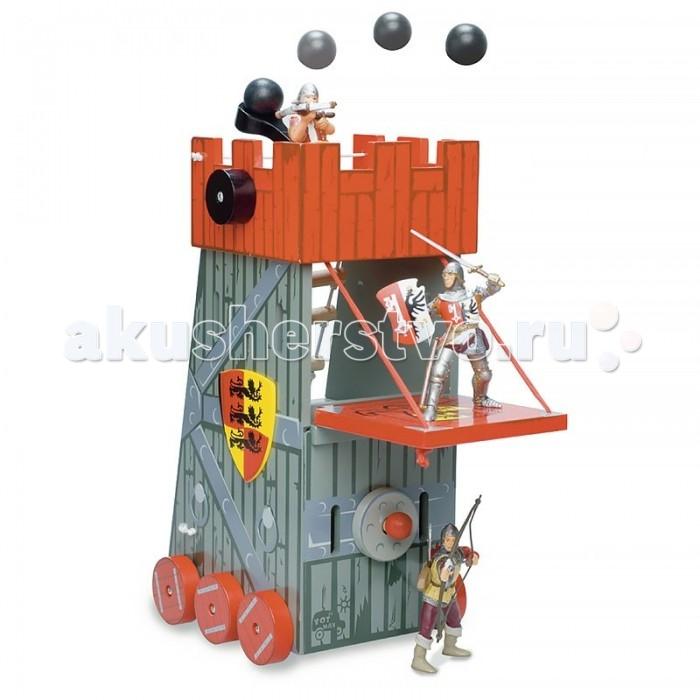 LeToyVan Набор Башня осады и 3 рыцаряНабор Башня осады и 3 рыцаряНабор Башня осады и 3 рыцаря включает в себя два игровых набора:  Игровой набор Башня осады. Башня осады высотой 17 см выполнена из дерева. Большое осадное орудие передвигается на колесах; внутреннее оснащение - требушет с ядром, откидной мост, таран, геральдический щит, лестница.   Набор кукол Рыцари: Рыцарь тьмы, рыцарь трех львов и король Ричард львиное сердце. Фигурки высотой 10 см, ручки и ножки гнутся, одежда из ткани.  Наборы упакованы в красочные коробки.<br>