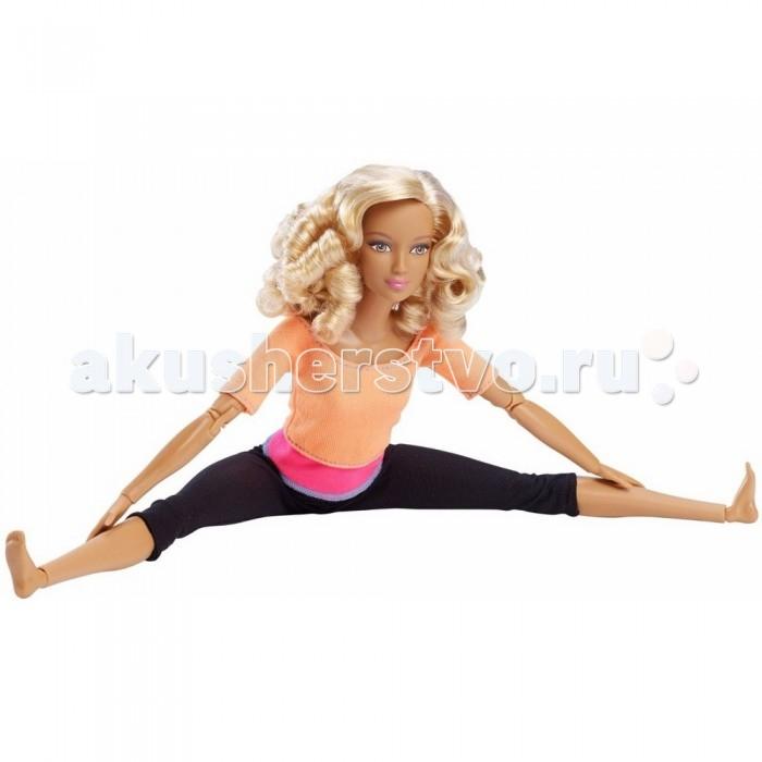 Barbie Кукла Барби из серии Безграничные движения Блондинка в оранжевом топеКукла Барби из серии Безграничные движения Блондинка в оранжевом топеBarbie Кукла Барби из серии Безграничные движения Блондинка в оранжевом топе просто восхитительна.   Ее вьющиеся длинные волосы можно расчесывать. Черные лосины отлично сидят на ее стройной фигуре. Яркая оранжевая кофта с розовой вставкой хорошо сочетается с ее загорелым цветом кожи.   Благодаря множеству встроенных шарниров, девочка вместе с куклой сможет выполнять множество гимнастических упражнений. Шарниры есть на шее, под грудью, в плечах, локтях, на запястьях, на бедрах, в коленях и щиколотках.   Высота куклы: 30 сантиметров.  Игрушка продается в блистерной упаковке.  Размер упаковки: 33х16,5х6,5 см. Рекомендуется детям старше 3 лет.<br>
