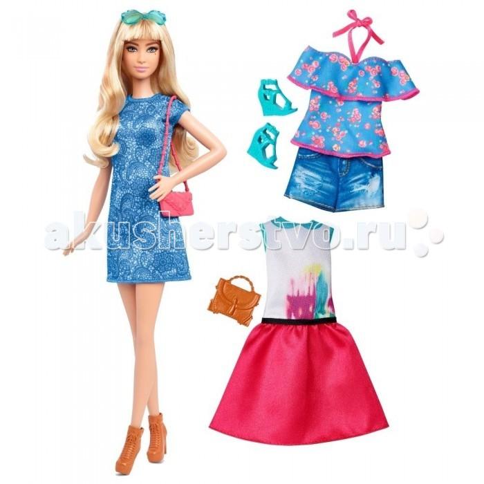 Куклы и одежда для кукол Barbie Кукла Барби в голубом платье с набором одежды куклы barbie кукла барби fashionistas эволюция барби с набором одежды