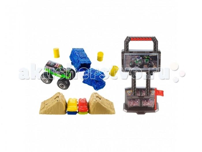 Hot Wheels Игровой набор серии Автомонстры Арена для трюковИгровой набор серии Автомонстры Арена для трюковОригинальным подарком мальчику будет набор Арена для трюков из серии Monster Jam. Эта интересная игрушка создана брендом Hot Wheels. В комплект входят имитированная трибуна с экраном, машинка в масштабе 1:64 и преграды в виде бочек, автобуса, трамплинов. На машинке установлены мощные колеса, которые преодолеют любые препятствия.  Благодаря своей фантазии, ребенок сможет интересно расставить преграды и трамплины. А затем умело объезжать их или же проехать по ним сверху. Ребенку будет интереснее играть со своими друзьями, придумывая всяческие ситуации.   Элементы набора легко крепятся на мини-трибуну, у которой сверху подобие ручки. Держа за нее, ребенок сможет переносить набор. Все детали сделаны из пластика. Большие колеса у машинки откручиваются, поэтому нужно периодически следить за тем, чтобы они крепко держались.<br>