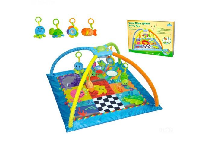 Развивающий коврик Parkfield Подводные игрыПодводные игрыРазвивающий коврик Parkfield Подводные игры с 2 игровыми дугами, соединенные между собой музыкальной шкатулкой с вращающимися игрушками (музыка и вращение активируются с кнопок); в комплектацию также входят 4 разных подвески с морской тематикой.  Производитель: Китай Габариты: 86x48x86 см<br>