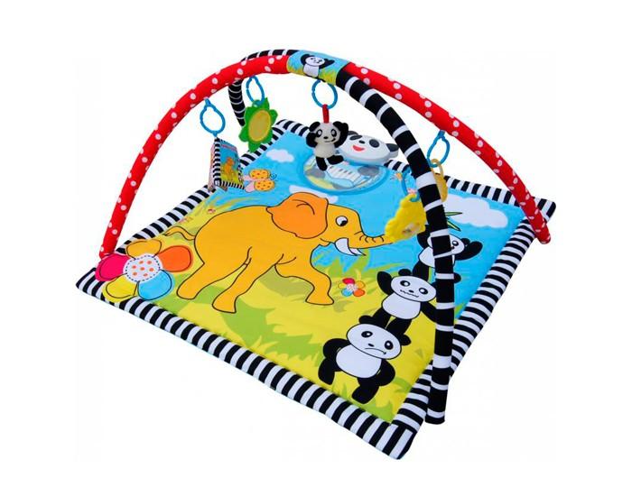 Развивающий коврик La-di-da Панда в раюПанда в раюРазвивающий коврик La-di-da Панда в раю с 2 игровыми разноцветными дугами и с 5 разными подвесками: плюшевая погремушка-панда, пластиковая погремушка-цыпленок, мягкая книжка, зеркальце, прорезыватель.  Особенности: Встроенная музыкальная шкатулка с клавиатурой  пиано (7 нот) Носик панды – кнопка включения музыки: 1 нажатие - для игры без фоновой музыки, повторное – для игры с фоновой музыкой В глазах панды мерцают огоньки Размер: 87x87x50 см<br>