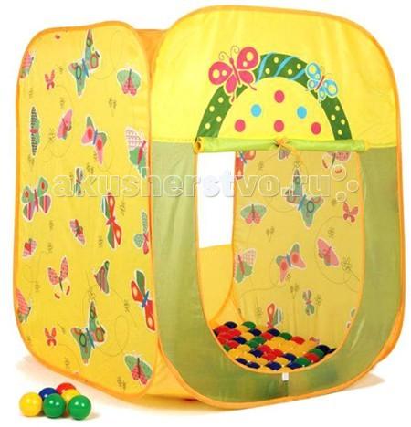 Палатки-домики BabyOne Ching-Ching Дом + 100 шаров Бабочки (квадрат) 85х85х100 игровые домики babyone игровой домик ching ching вилла
