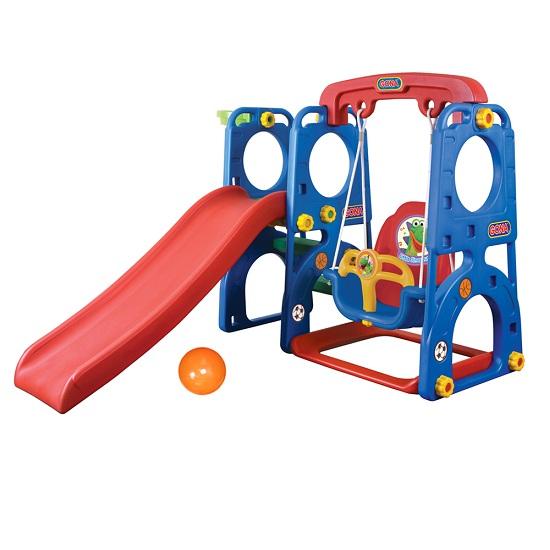 Gona Toys Игровая зона ДинозаврикИгровая зона ДинозаврикИгровая зона Gona Toys Динозаврик с горкой, качелями с музыкальной панелью и баскетбольным кольцом.    Особенности:    Горка со ступеньками, может устанавливаться с любой стороны от качелей, оборудована округлыми бортами безопасности, а удобные ступеньки имеют рифленую поверхность.   Качели оборудованы надежными креплениями, удобным и безопасным стульчиком со спинкой и фиксирующим бампером.   Баскетбольное кольцо также можно крепить с любой стороны конструкции.   Оригинальный дизайн, устойчивая безопасная и прочная конструкция.   Комплекс легко собирается и разбирается.   Изготовлен из высококачественного пластика HDPE, который соответствуют всем европейским требованиям безопасности и качества для детских товаров.   Размер: 165 х 121 х 120 см Размер упаковки: 130 х 36 х 61 см<br>