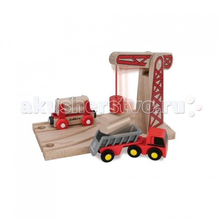 Eichhorn Игровой набор Деревянная железная дорога с краном 6 деталей