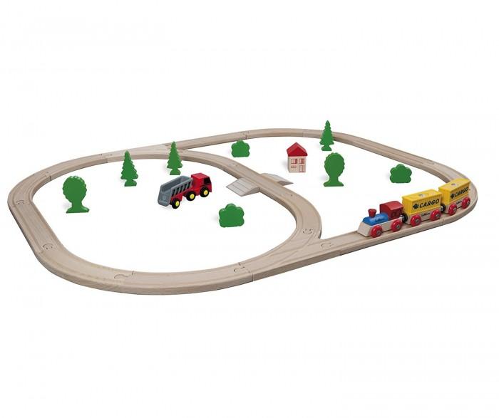 Eichhorn Набор Деревянной железной дороги с грузовым поездом и  аксессуарами 35 деталей
