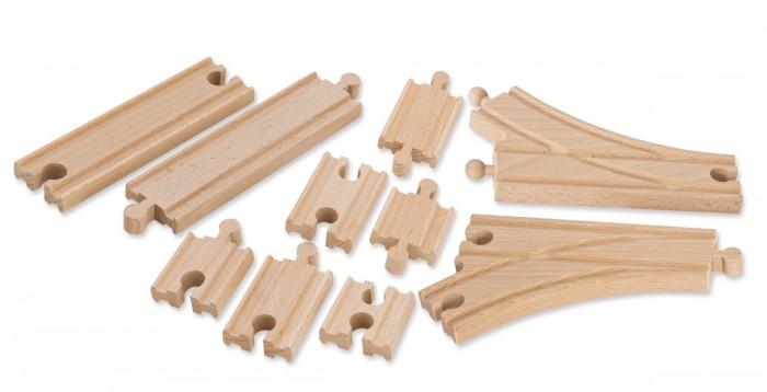 Железные дороги Eichhorn Набор для дополнения деревянного железнодорожного полотна большой 10 деталей игровой набор eichhorn гибкие радиусные рельсы 100001406