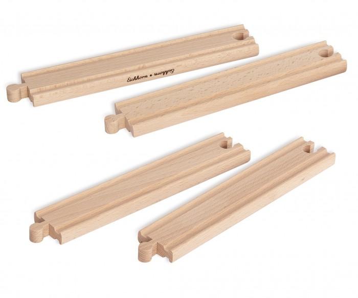 Железные дороги Eichhorn Набор прямых элементов для деревянной железной дороги 20,5 см 4 детали eichhorn аксессуар для железной дороги висячий мост