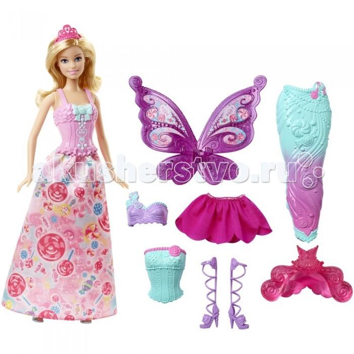 Barbie Кукла Барби Сказочная принцессаКукла Барби Сказочная принцессаКукла Барби «Сказочная принцесса» просто восхитительна. Ее вьющиеся светлые волосы украшены красивой ярко-розовой тиарой. Пластиковый топ нежно-розового цвета украшен множеством оборок и большим зеленым бантом на груди.   Длинная юбка из атласа сзади розовая, а впереди украшена изображением различных сладостей. Светло-зеленые босоножки на высоком каблуке отлично дополняют ее наряд.   В комплекте с куклой идут еще два варианта одежды.  Первый вариант – образ феи. В него входит зеленый пластиковый топ с розовой окантовкой по верху, короткая розовая юбка, оформленная в виде цветочка и высокие фиолетовые босоножки и фиолетовые крылья, на которых изображены сладости.  Второй вариант – это образ русалки с розовым прозрачным кончиком хвоста. В этот образ входит фиолетовый топ с зеленой бретелькой, украшенной изображением ракушек и длинный хвост русалки, переливающийся розовым и зеленым цветами.   Благодаря полупрозрачной блистерной упаковке все элементы набора можно хорошо рассмотреть.   Высота куклы: 30 сантиметров.<br>