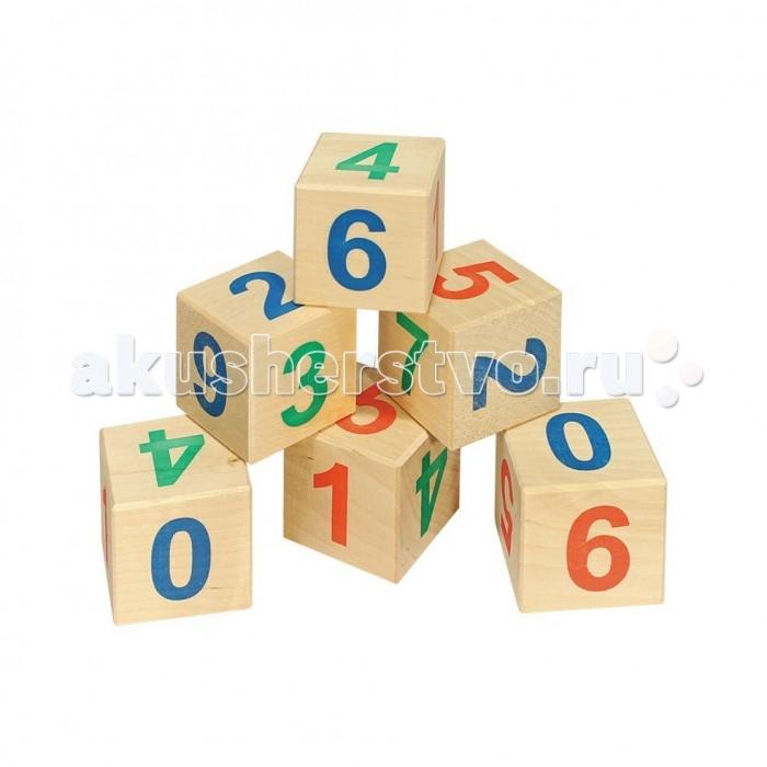 Деревянные игрушки Теремок Кубики Веселый счет 12 шт. кубики мди