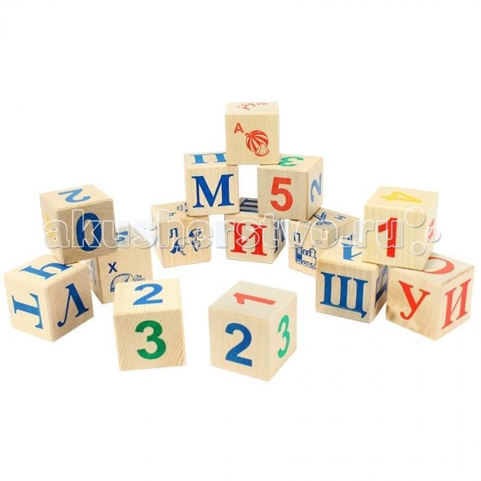 Деревянные игрушки Теремок Кубики с русским алфавитом 12 шт. деревянные игрушки теремок кубики веселый счет 15 шт