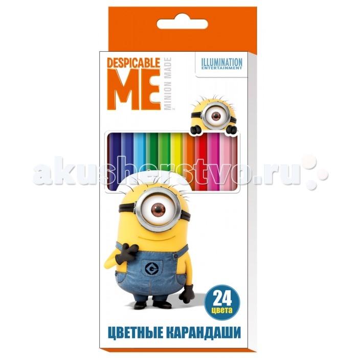 Карандаши, восковые мелки, пастель Universal Studios Цветные карандаши Гадкий Я 24 цвета карандаши восковые мелки пастель росмэн карандаши цветные маша и медведь 24 цвета