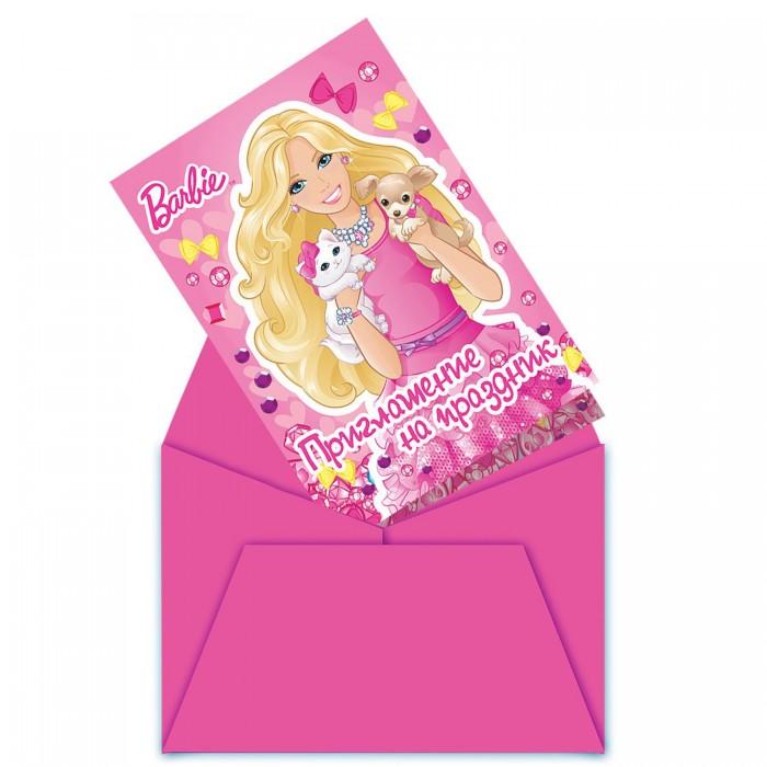 Товары для праздника Olala Приглашение в конверте Барби товары для праздника olala пакет для подарков барби